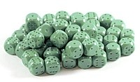 Kostki w kompletach: zielone matowe K-6 - oczka/10 szt/
